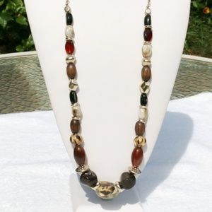 Chicos Long Boho Necklace Mixed Bead Statement